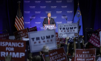 Republican presidential candidate Donald Trump speaks at a rally in Reno, Nevada on Saturday.