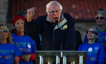 Sen. Bernie Sanders speaks to supporters at a rally in support of Colorado Amendment 69.