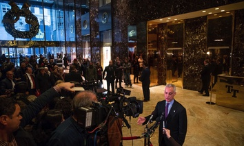 Chicago Mayor Rahm Emanuel speaks with members of the media after meeting with President-elect Donald Trump at Trump Tower in New York.