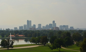 A hazy day in Denver, Colorado.