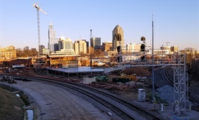 Raleigh's future multi-modal transportation center is taking shape at this railroad wye on the edge of downtown.