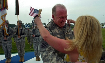 A military reunites after a deployment in Iraq in 2008.