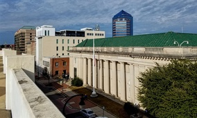 Looking out on Chapel Hill Street in Durham, North Carolina