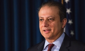 United States District Attorney Preet Bharara announces charges Wednesday in New York.