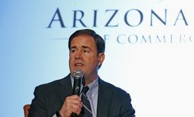 Arizona Republican Gov. Doug Ducey speaks at the Arizona Chamber of Commerce and Industry's 2017 Legislative Forecast Luncheon Friday, Jan. 6, 2017, in Phoenix.