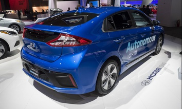 Hyundai IONIQ autonomous car on display during the North American International Auto Show at the Cobo Center in downtown Detroit.