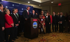 New York City Mayor Bill de Blasio speaking at a press conference as part of the Winter Meeting for the U.S. Conference of Mayors.