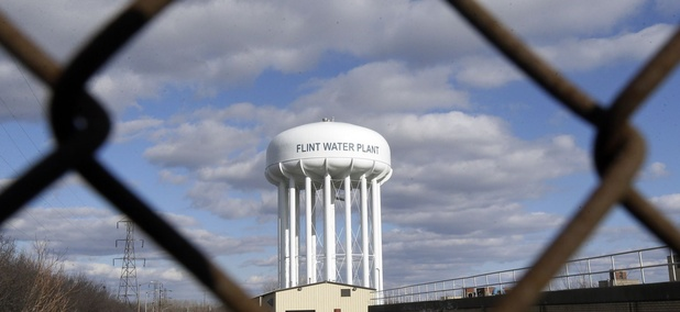 A water tower in Flint, Michigan