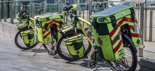 Bicycle ambulances in London, England. Hundreds of bike medic units are cropping up in the U.S.