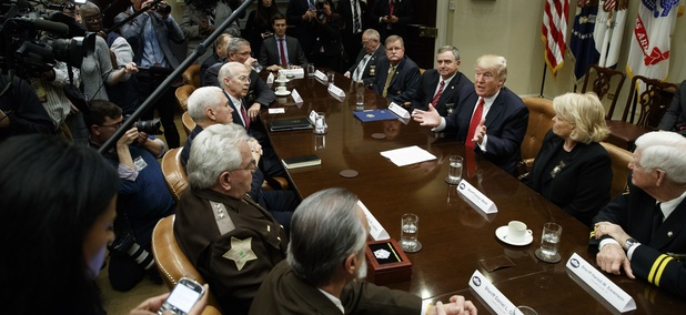 President Donald Trump meeting with county sheriffs at the White House Tuesday.