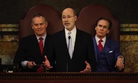 Pennsylvania Gov. Tom Rourke delivers his budget address Tuesday.