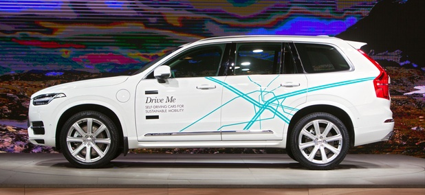 A Volvo self driving car on display at the North American International Auto Show media preview January 19, 2017 in Detroit, Michigan.
