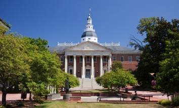The Maryland State Capitol. In Maryland, the pay gap among state employees was largest in Republican Gov. Larry Hogan's office, where men hold more senior positions and women earn 68 percent of what men earn.