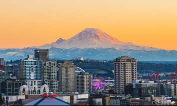 The view of Mount Rainier from Seattle.