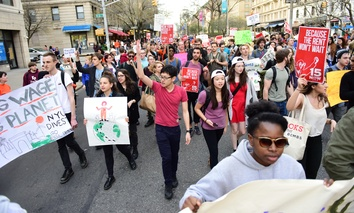 Protesters seeking a higher minimum wage in New York City in April of 2015. As more Americans work nontraditional jobs, demand is growing to restructure employment benefits for them.