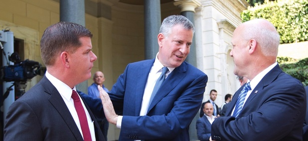 Mayor Marty Walsh and Mayor Mitch Landrieu with Mayor Bill de Blasio, who has also been a vocal supporter of the Affordable Care Act.