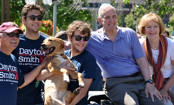Minnesota Governor Mark Dayton and Lieutenant Governor Tina Smith pose for pictures in the Twin Cities Gay Pride Parade on June 29, 2014, in Minneapolis.