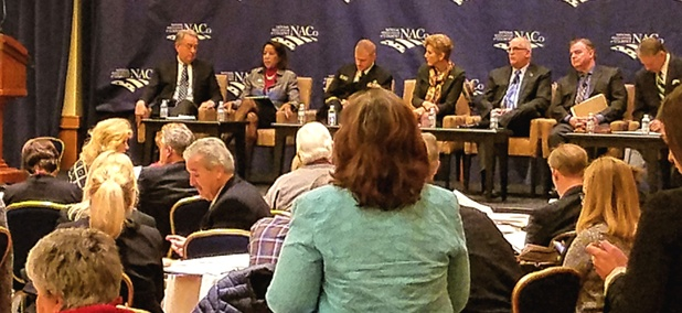 County government leaders from around the U.S. gather for a town hall meeting on the opioid abuse epidemic.