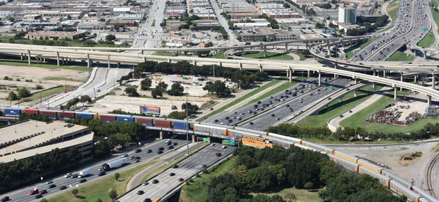 The junction of Interstate 35E and the Woodall Rogers Freeway near downtown Dallas.