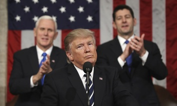 President Donald Trump reacts after addressing a joint session of Congress on Capitol Hill in Washington, Tuesday, Feb. 28, 2017.