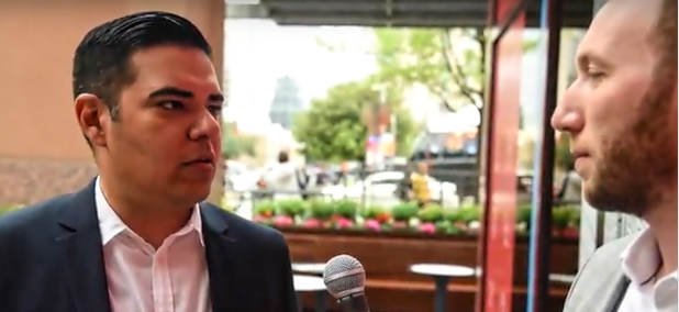 Route Fifty's Mitch Herckis interviews Long Beach Mayor Robert Garcia in Austin.