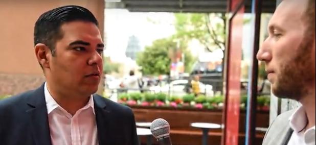 Route Fifty's Mitch Herckis interviews Long Beach Mayor Robert Garcia in Austin.
