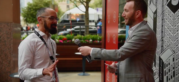 Route Fifty's Mitch Herckis interviews West Sacramento Mayor Christopher Cabaldon in Austin.