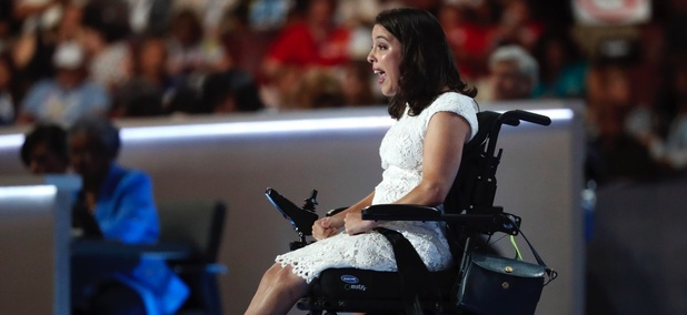 Anastasia Somoza speaks on disability rights during the first day of the Democratic National Convention in Philadelphia , Monday, July 25, 2016.