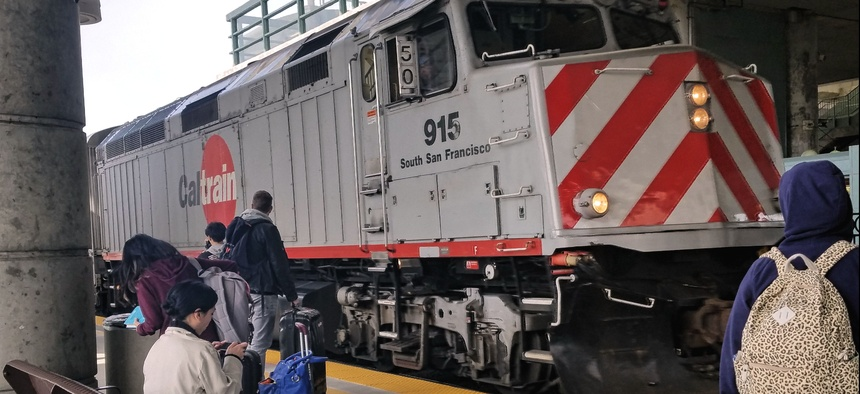 A southbound Caltrain pulls into the Millbrae station near San Francisco International Airport.