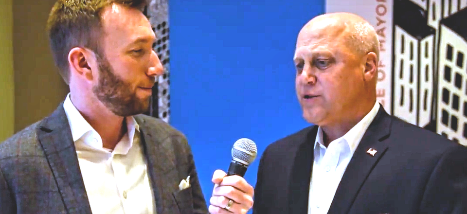 Route Fifty's Mitch Herckis interviews New Orleans Mayor Mitch Landrieu in Austin.