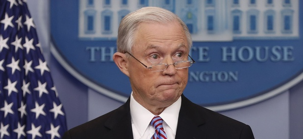 Attorney General Jeff Sessions pauses while speaking to members of the media during the daily briefing in the Brady Press Briefing Room of the White House in Washington, Monday, March 27, 2017.