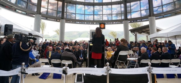 Fremont Mayor Lily Mei speaks at this weekend's ceremony to open the BART Warm Springs extension.