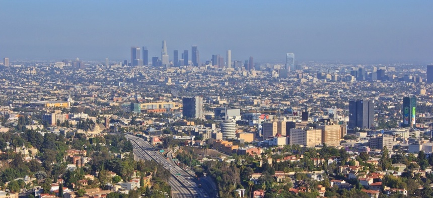 Smog over Los Angeles, California.