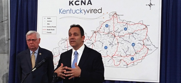 Gov. Matt Bevin discusses the status of Kentucky's broadband network in September.