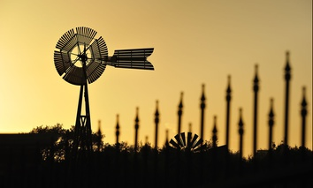 Silhouette of windmills near Lubbock, Texas