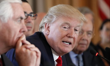 President Donald Trump, joined by Secretary of State Rex Tillerson, left, speaks during a bilateral meeting with Chinese President Xi Jinping at Mar-a-Lago in Palm Beach, Fla.