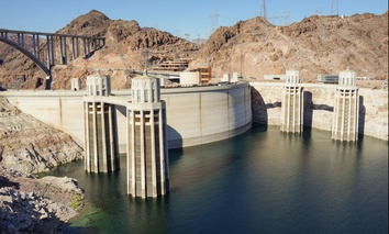 Hoover Dam on the Colorado River created Lake Mead