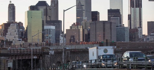 Traffic makes its way across an elevated portion of the Brooklyn-Queens Expressway slated for repair beginning as early as 2020.