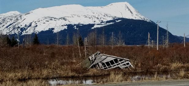 The ruins of Portage, Alaska, as seen from the Seward Highway.
