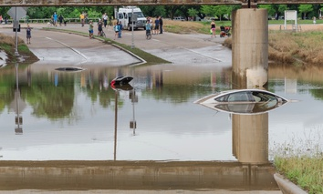 A car swamped by flood water in Houston, Texas.