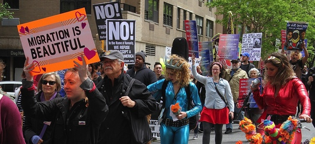 Participants at the La Marcha de Mayo in New York City on May 6.