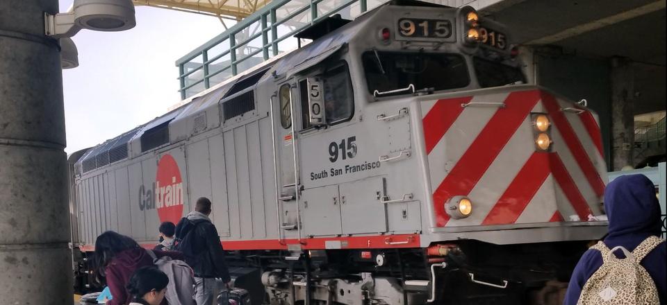 A Caltrain pulls into the Millbrae station near San Francisco International Airport.