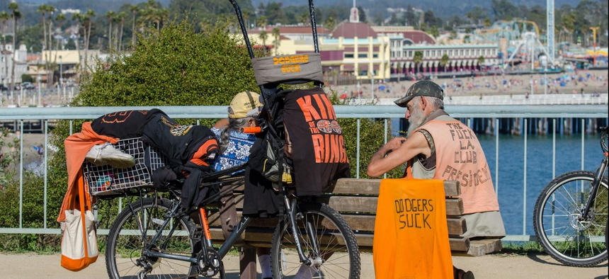 A homeless man on the Santa Cruz Wharf.