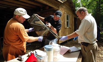 A raid of a suspected meth house in Gerald, Mo in 2010. Experts believe that users are now buying meth imported from Mexico, rather than making their own.