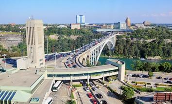 The Rainbow Bridge border crossing at Niagara Falls, Canada