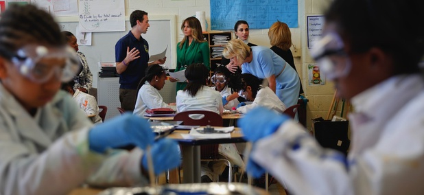 First lady Melania Trump, Queen Rania of Jordan and Education Secretary Betsy DeVos visit Excel Academy Public Charter school in Washington, D.C.