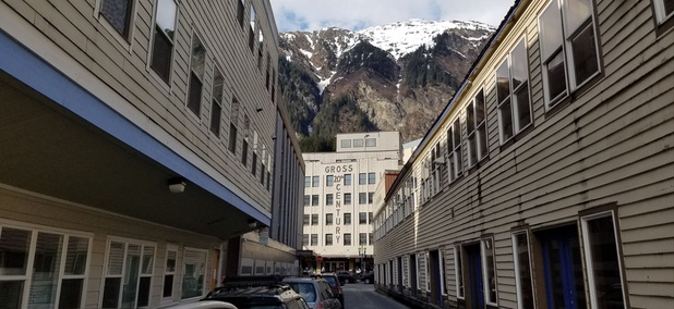 Downtown Juneau sits at the foot of Mount Juneau.