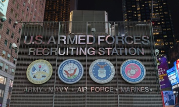 The armed forces recruiting center in Times Square, New York City.