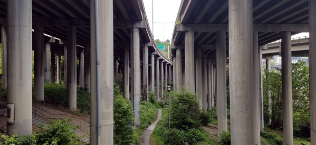 The I-5 Colonnade park in Seattle.