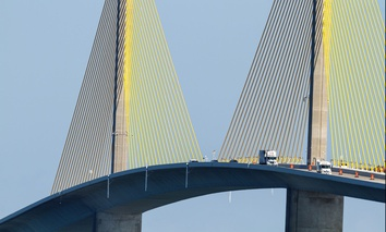 The Sunshine Skyway Bridge near St. Petersburg, Florida.
